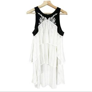 FREE PEOPLE Embroidered Hi-Low Knit Tank Top Sz S